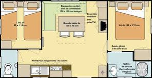 Plan Mobile-home residential 2 bedrooms Camping Alpes Dauphiné
