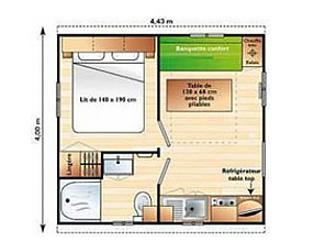 Plan Mini mobil-home 1 chambre Camping Alpes Dauphiné